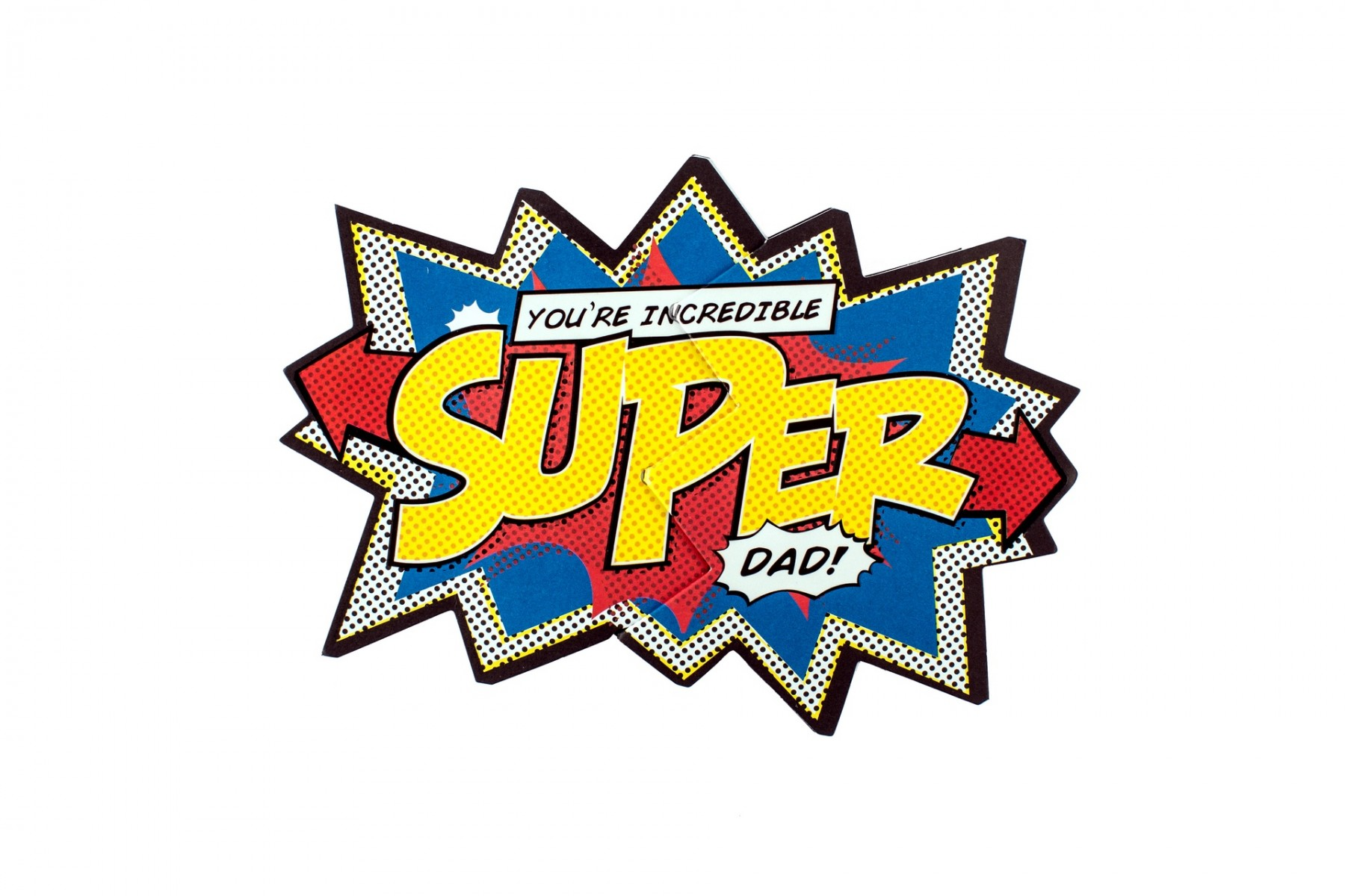 Super Dad Text With Mustache On Rays Background, Pop-art